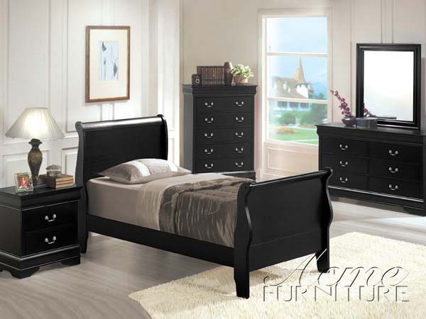 black twin bedroom